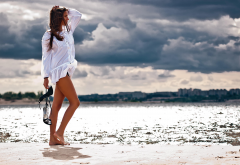 women, brunette, model, beach, dark clouds wallpaper