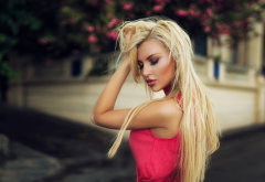 montse roura, women, blonde, red dress, cute, outdoor wallpaper