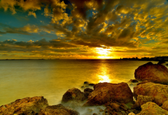 sunset, sky, sea, rocks, nature wallpaper