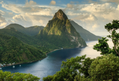 sea, mountains, caribbean, saint lucia, ocean, beach, tropics, nature wallpaper