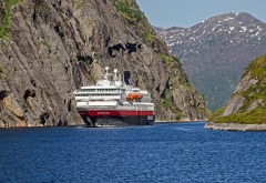 hurtigruten, fjord, norway, rocks, liner, cruise, cruise ship, ship, ms nordnorge wallpaper