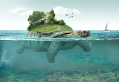 sea, yacht, seagull, turtle, house, art, 3d wallpaper