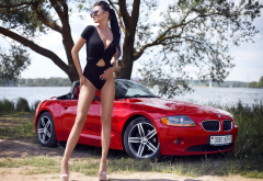bmw, women, model, beautiful, sunglasses, swimsuit, legs, cars wallpaper