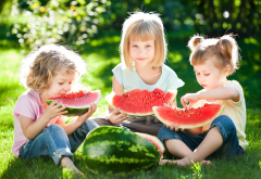 girls, watermelon, summer, children, smile, food wallpaper