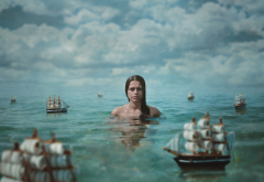women, girl, photo, creative, sea, ships, clouds wallpaper