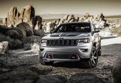 jeep, rocks, cars, jeep grand cherokee trailhawk, jeep grand cherokee wallpaper