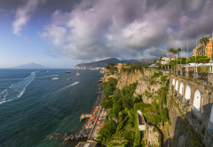 sorrento, italy, sea, clouds, city, beach, town wallpaper