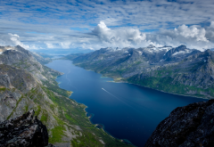 norway, fjord, mountains, beautiful, nature, clouds wallpaper