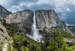 yosemite national park, waterfall, usa, nature, mountains wallpaper
