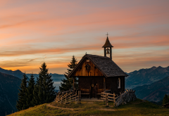 church, mountains, alps, nature, beautiful, sunset, austria wallpaper