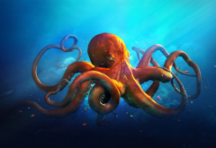 octopus, art, underwater, desktopography wallpaper