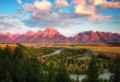 nature, mountains, sky, river, trees, forest, grand teton national park, snake river overlook, usa, snake river wallpaper