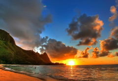 sunset, sea, beach, hawaii, shore, mountains, sun, clouds, nature wallpaper