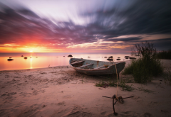 sea, dawn, boat, summer, baltic, latvia, sea, baltic sea, nature wallpaper