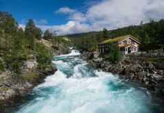 nature, mountains, forest, mountain river, norway, river wallpaper