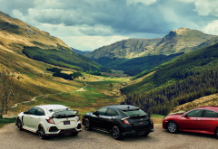 honda, cars, mountains, forest, valley, nature, glen croe, arrochar alps, cowal peninsula, scotland wallpaper
