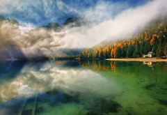 autumn, lake, mountains, nature, fog, forest wallpaper