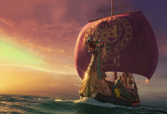 sailboat, sea, dragon, boat, ship, the chronicles of narnia: the voyage of the dawn treader, movies wallpaper