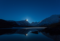 bodo, norway, snow, landscape, night, nature, lake, reflection wallpaper