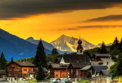 blitzingen, switzerland, town, sky, mountains, house, sunset wallpaper
