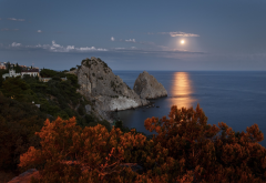 ñrimea, sea, moon, moonlit walk, evening, shore, rocks, sky, black sea, nature, russia wallpaper