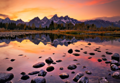 grand teton national park, landscape, water, autumn, nature, glow, reflection, mountains, sunset wallpaper