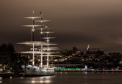 sailing ship, water, city, stockholm, ship, sweden, night wallpaper