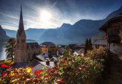 hallstatt, mountains, austria, nature, landscape, autumn, lake, city, tower, city wallpaper