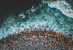 sea, waves, nature, rocks, coastline wallpaper