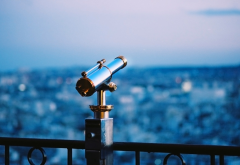 telescope, binoculars, city, depth of field, night, evening wallpaper