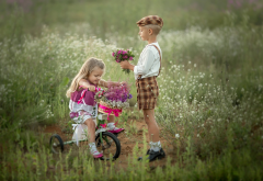 children, boy, girl, couple, nature, summer, field, bicycle, flowers, bouquet wallpaper