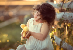 girl, child, dress, chick, duckling, duck, animals wallpaper