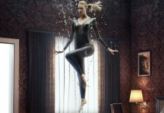 Emma Ishta , Stitchers, indoors, indoors, blonde, bodysuits, catsuit, curvy women, hips wallpaper