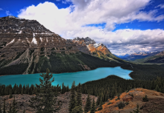 peyto lake, alberta, canada, landscape, mountains, sky, clouds, nature, lake wallpaper