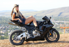 honda, women, blonde, girl, motorcycle, bike wallpaper
