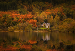trossachs, scotland, loch achray, house, autumn, lake, trees, nature wallpaper