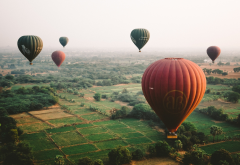balloon, nature, flight, field, hot air balloon, myanmar  wallpaper