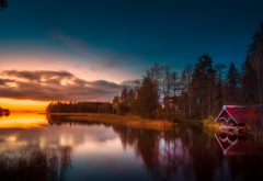 finland, lake, reflection, sunset, nature wallpaper