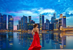 red dress, cityscape, skyscrapers, singapore, smilig girl wallpaper