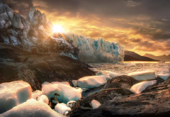 argentina, patagonia, glacier, ice, iceberg, mountains, sun wallpaper