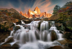 argentina, patagonia, mountains, stones, waterfall wallpaper