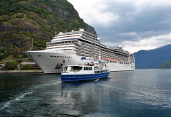 flam, norway, fjord, ship, cruise ship wallpaper