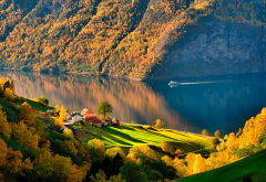 norway, autumn, fjord, ship, forest, village, nature wallpaper
