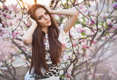cherry blossom, brunette, brown eyes, looking at viewer, smoky eyes, women outdoors wallpaper