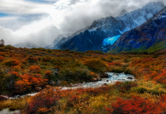 nature, beautiful, sky, clouds, fog, mountains, snow, slope, stream, grass, autumn wallpaper