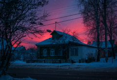 house, trees, nature, sky, sunset, village, russia, snow, winter wallpaper