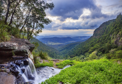 morans falls, gondwana rainforests, queensland, australia, nature, sky, clouds, hill, grass, stones, summer, landscape wallpaper