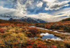 patagonia, nature, clouds, river, landscape, autumn wallpaper