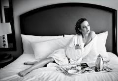 brie larson, actress, monochrome, bed, pillow, house coat, coffee, breakfast wallpaper