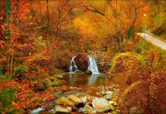 park, autumn, waterfall, stones, river, nature, forest wallpaper
